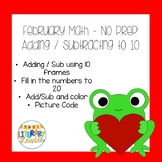 February Valentine Math Set adding and subtracting to 10