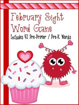 February Valentine Monster Sight Word Game - Pre Primer / Pre-K Words