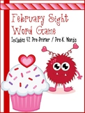 February Valentine Monster Sight Word Game - Pre Primer /