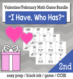 """February & Valentine's Day 2nd  Grade """"I Have, Who Has"""" Math Game Bundle"""