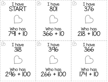"February & Valentine's Day 2nd  Grade ""I Have, Who Has"" Math Game Bundle"