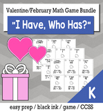 """February Valentine's Day Kindergarten """"I Have, Who Has"""" Math Game Bundle"""