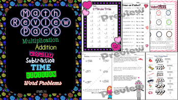 February/Valentine's Day Math Spiral Review Pack