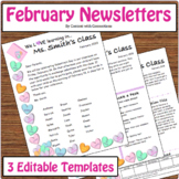 February Valentine's Day Newsletter with Candy Hearts--Editable