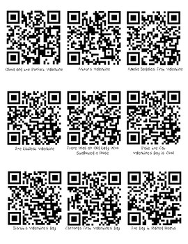 February Valentine's Day QR Codes for Listening Center