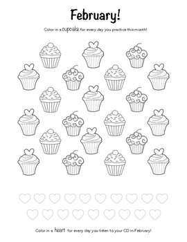 February - Valentine's Day Themed Piano Practice Chart!