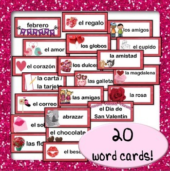 February / Valentine's Day Word Wall Cards AND Activities! {Spanish Version}