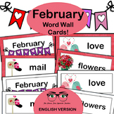 February / Valentine's Day Word Wall Cards: English version