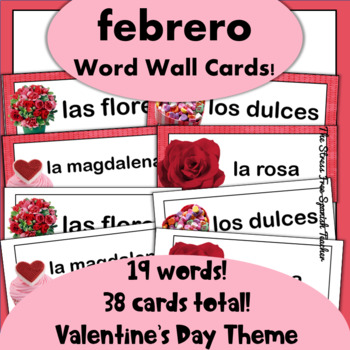 February / Valentine's Day Word Wall Cards: Spanish