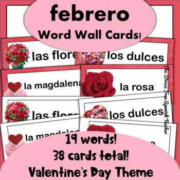 Spanish February / Valentine's Day Word Wall Cards, El Dia de los Enamorados