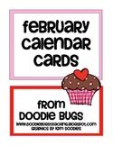 February / Valentine's Day Calendar Cards