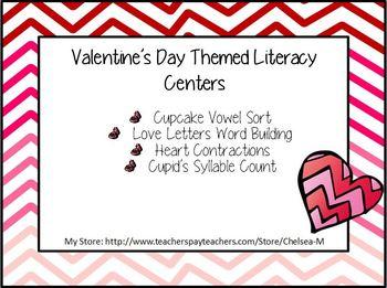 February Valentine's Day Literacy Centers