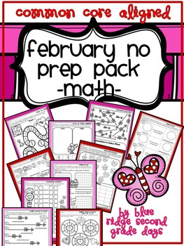 February Valentine's Day No Prep Math Pack -Differentiated Activities
