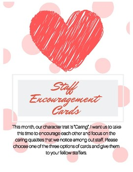 February Valentines Day Staff Encouragement Activity for Character Ed- Caring