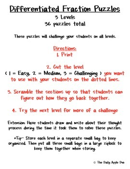 Equivalent Fractions: Differentiated Puzzles (February Valentines)