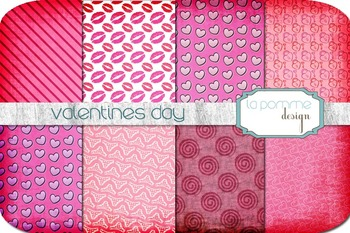 February Valentine's Hearts Patterned Digital Paper Pack