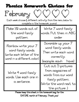 February Valentines Journal Cover, Newsletter, and Phonics Choices