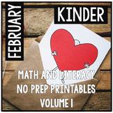 February Valentine's Kindergarten Math and Literacy NO PREP Common Core Aligned