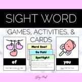 February Valentine's Owl & Heart Sight Words Flashcards