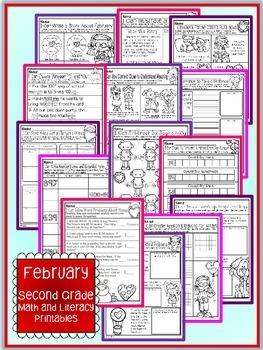 February Valentine's Second Grade Math and Literacy NO PREP Common Core Aligned