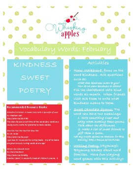 Valentine February Vocabulary Activities: Kindness, Sweet, Poetry