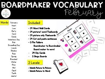 February Vocabulary Unit- Boardmaker