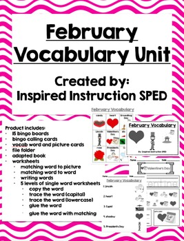 February Vocabulary Unit for Early Elementary or Students with Special Needs