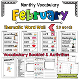 February Vocabulary Word Wall, Booklet, Writing Activities and BINGO