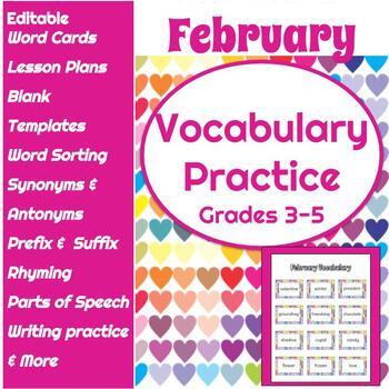 February Vocabulary Word Work Activities: Grades 3-5- EDITABLE Vocabulary List