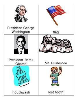 February Vocabulary Words-- Valentine's, Groundhog Day, President's