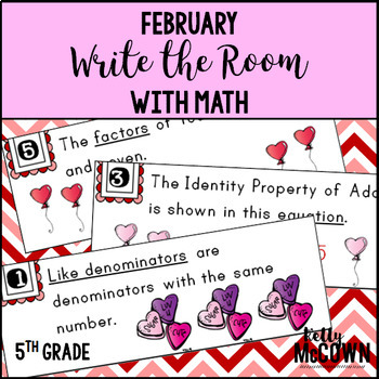 February WRITE THE ROOM with Math - 5th Grade