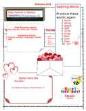 February Weekly Homework Sheet