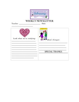 February Weekly Newsletter Template