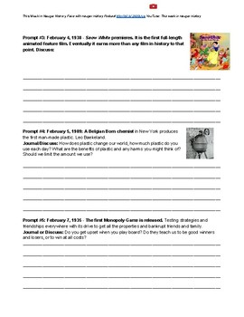 February Whole Month Historical Journals Topics Winter Quick Write Prompts