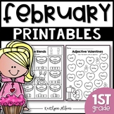 February Winter Printables - Math and Literacy Packet for First Grade