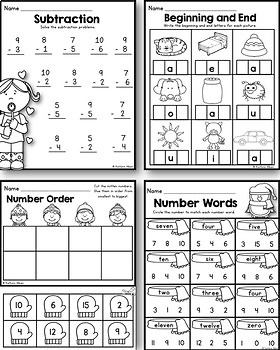 February Winter Printables - Math and Literacy Packet for Kindergarten