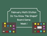 Winter Shape Attributes Board Game Math Station Week 1 & 2 Kindergarten