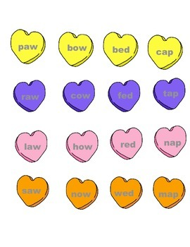 Word Family Candy Hearts Literacy Center Week 1 & 2 (aw, ow, ed, ap)