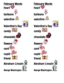 February Word Picture Sentence Helpers