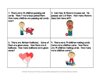 February (Valentine's Day) Word Problems for 1st Grade (TASK CARDS)