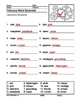 February Word Scramble Printable