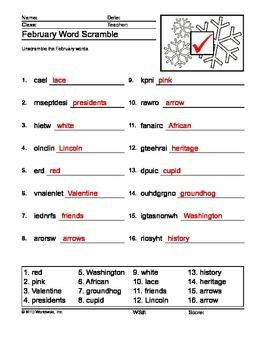 February Word Scramble Printable