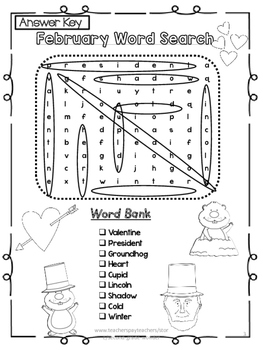 February Word Search 2 Levels