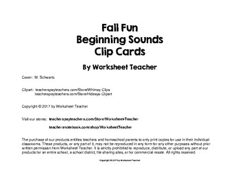 Fall Fun Beginning Sounds Preschool Clip Cards
