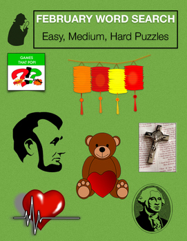 February Word Search Puzzle Bundle - Black History, Lincoln, Valentine more