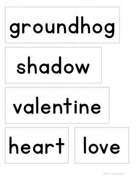 February Word Study Kindergarten