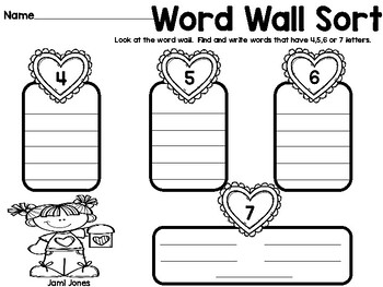 February Word Wall Printables