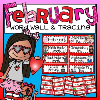 Word Wall and Tracing: February (Valentine's Day, Winter, Seasons handwriting)