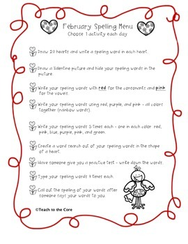 FREE! February Word Work Spelling Menu