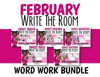 February Word Work Write The Room Bundle